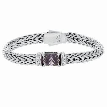Sterling Silver Woven Large Gemstone Bracelet