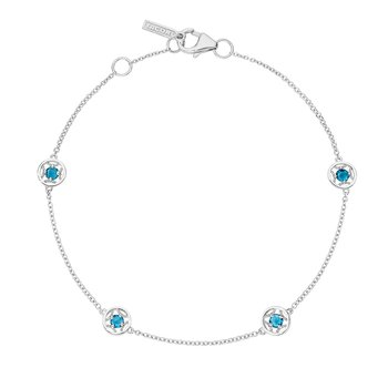 4-Station Petite Gemstone Bracelet with London Blue Topaz