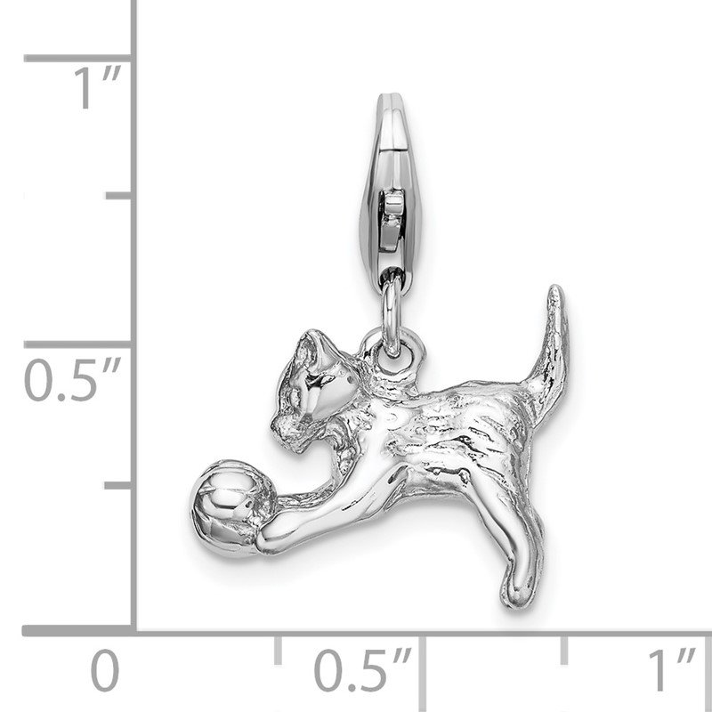 Quality Gold Sterling Silver Amore La Vita Rhodium-plated 3-D Kitten and Ball Charm