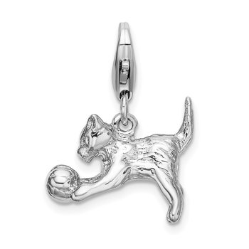 SS RH 3-D Polished Kitten & Ball w/Lobster Clasp Charm