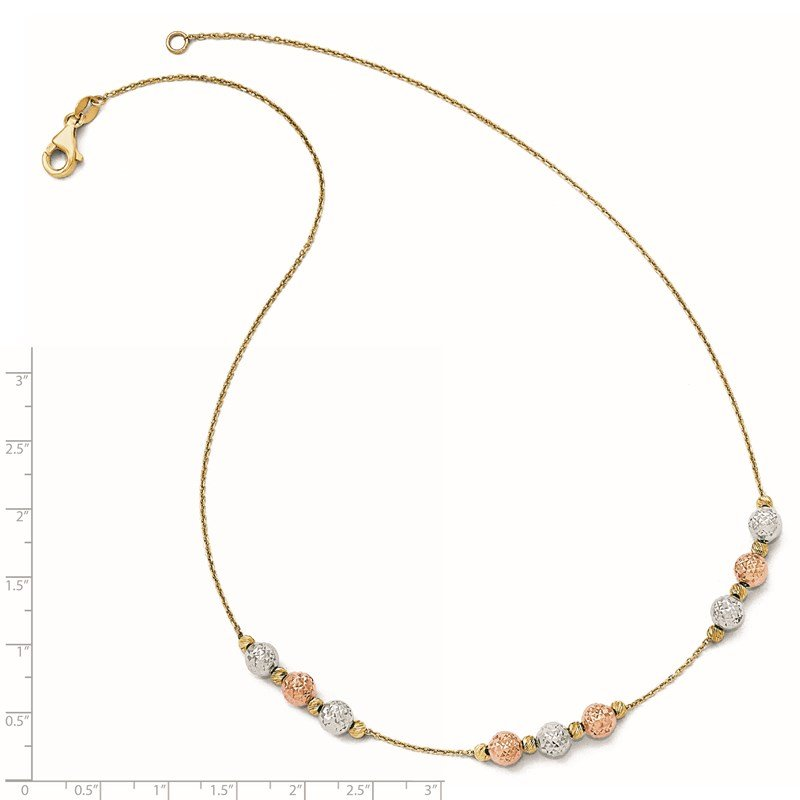Leslie's Leslie's 14K Tri Colored D/C Beaded Necklace