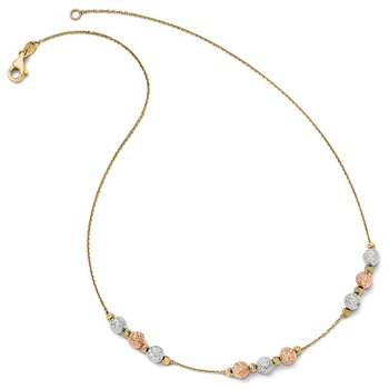 Leslie's 14K Tri Colored D/C Beaded Necklace