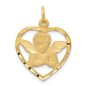 14k Angel in Heart Charm