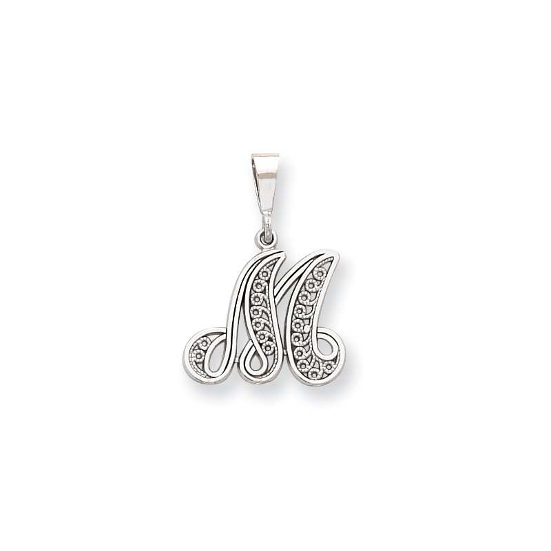 Quality Gold 14KW White Gold Solid Polished Script Filigree Letter M Initial Pendant