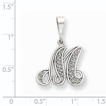 14KW White Gold Solid Polished Script Filigree Letter M Initial Pendant