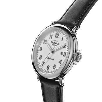 The Runwell Automatic 45mm White Dial Leather Strap Watch