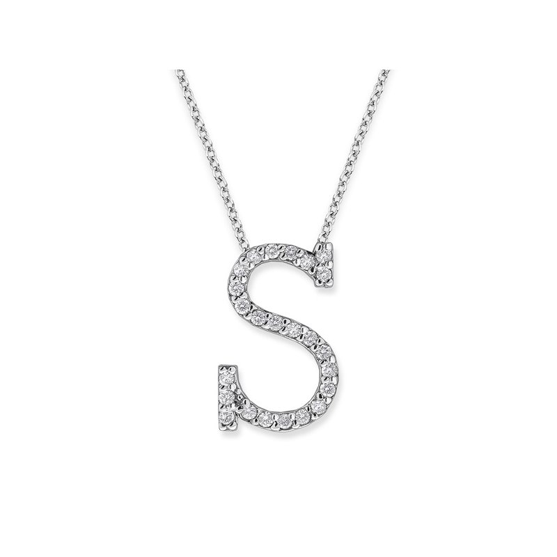 "KC Designs Diamond All Star Initial ""S"" Necklace in 14K White Gold with 24 diamonds weighing .24ct tw."