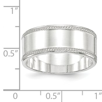 Sterling Silver 9.5mm Designed Edge Band