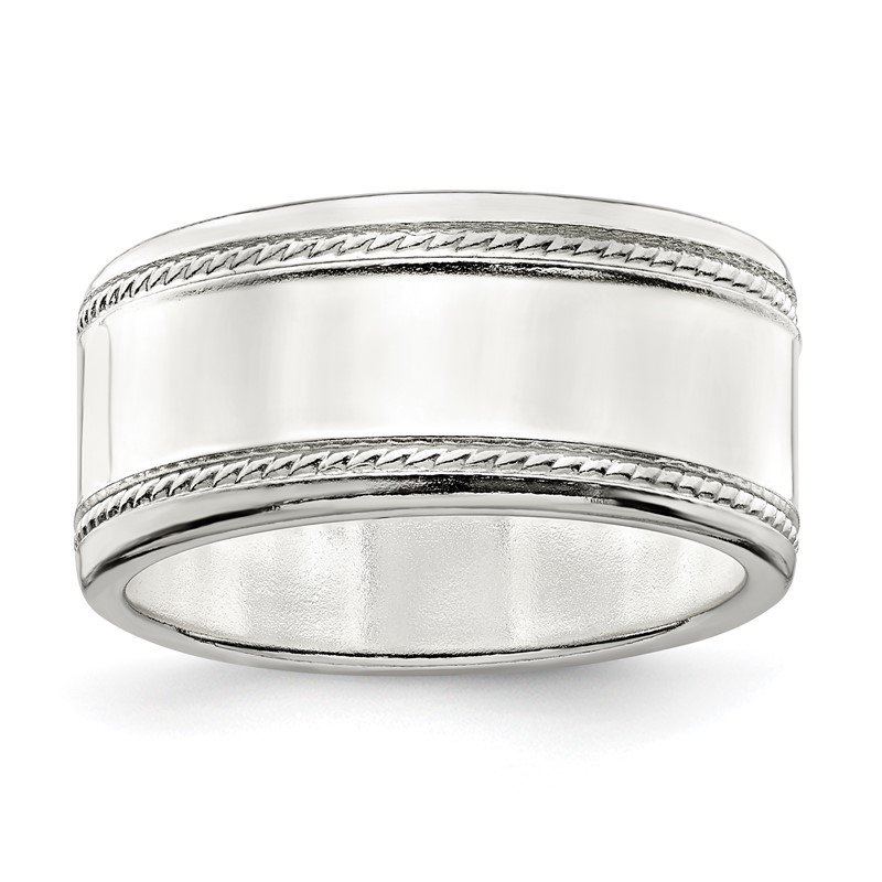 J.F. Kruse Signature Collection Sterling Silver 9.5mm Designed Edge Band