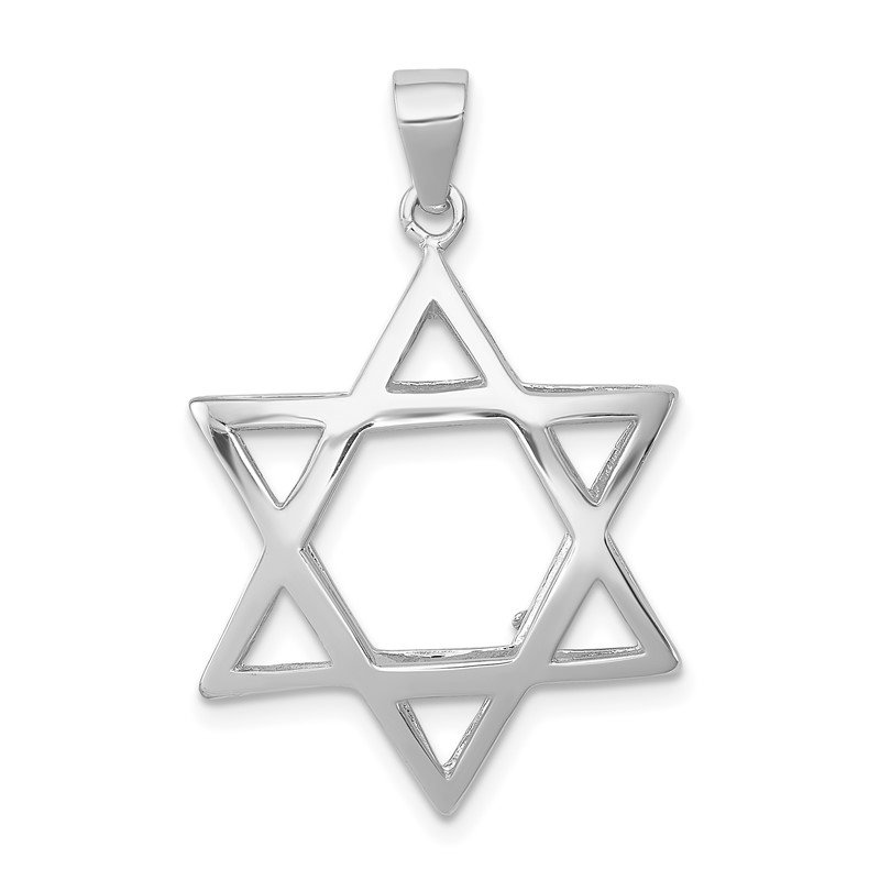 Quality Gold Sterling Silver Puffed Star of David Pendant