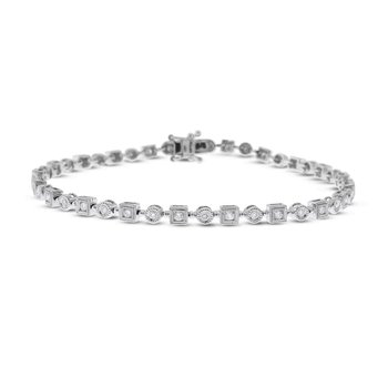 14K Diamond Geometric Bracelet