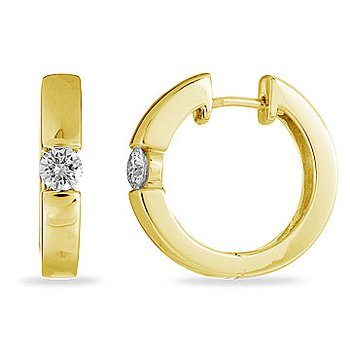 14K YG Diamond Hoops Solitaire Earring 0.50 cts