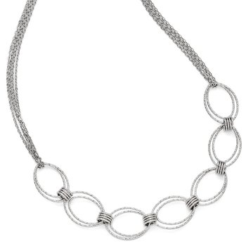 Leslie's Sterling Silver Fancy Link w/2in ext. Necklace