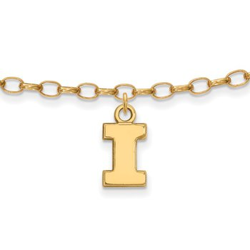 Gold-Plated Sterling Silver University of Illinois NCAA Bracelet
