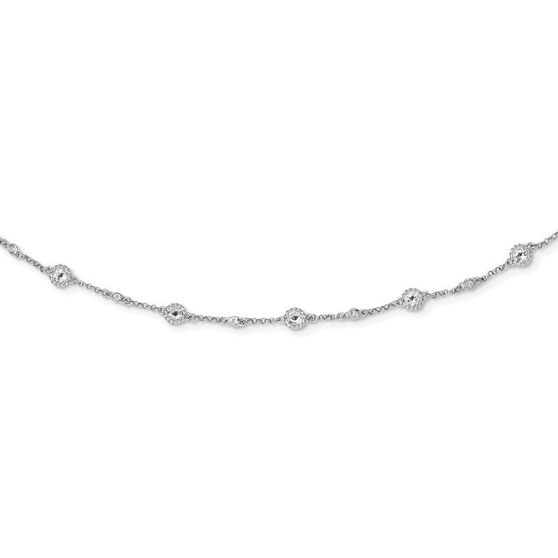 Quality Gold Sterling Silver Rhodium-plated White Topaz Station Necklace