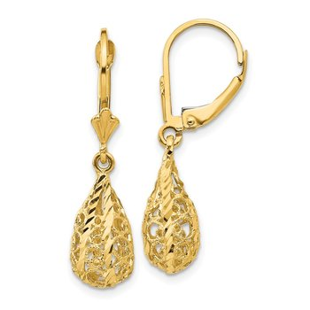 14k Polished Diamond-Cut Filigree Dangle Leverback Earrings