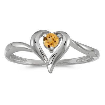 14k White Gold Round Citrine Heart Ring