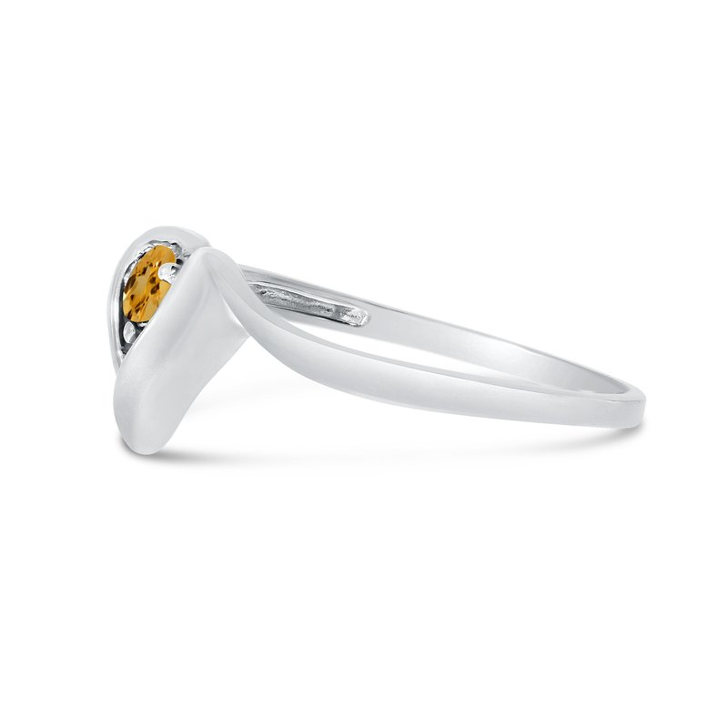 Color Merchants 14k White Gold Round Citrine Heart Ring
