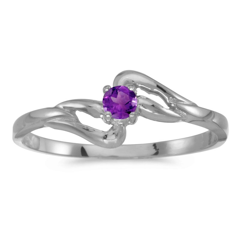 10k White Gold Round Amethyst Ring