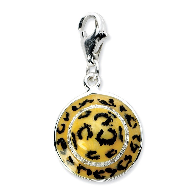 Quality Gold Sterling Silver Click-on CZ Enamel Leopard Hat Charm