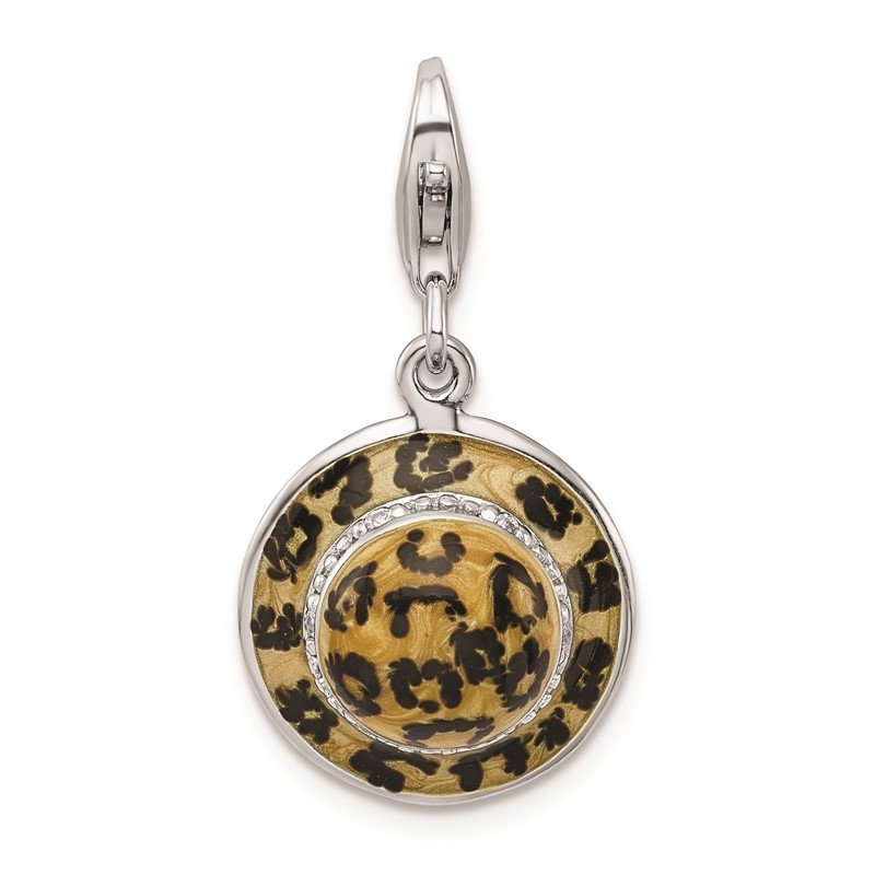 Quality Gold Sterling Silver Amore La Vita Rhodium-pl CZ Enameled Leopard Hat Charm