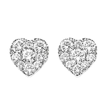 14K Diamond Heart Cluster Earrings 1 ctw