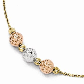 Leslie's 14k Tri Colored Diamond-cut Beaded Bracelet