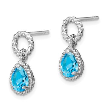 Sterling Silver Rhodium Blue Topaz Pear Twisted Post Earrings