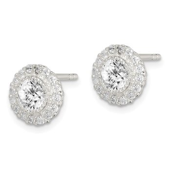 Sterling Silver CZ Halo Post Earrings