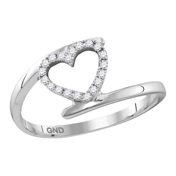 10kt White Gold Womens Round Diamond Held Heart Love Ring 1/8 Cttw