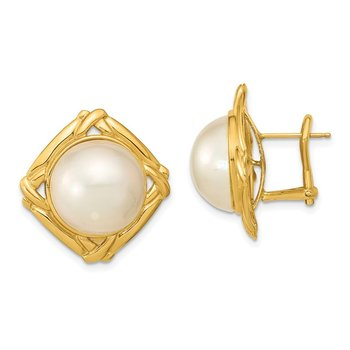 14k 13-14mm White Mabe Saltwater Cultured Pearl Omega Back Earrings