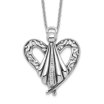 Sterling Silver CZ Antiqued Angel of Friendship 18in Necklace