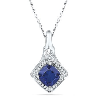 10kt White Gold Womens Round Lab-Created Blue Sapphire Solitaire Pendant 1-5/8 Cttw