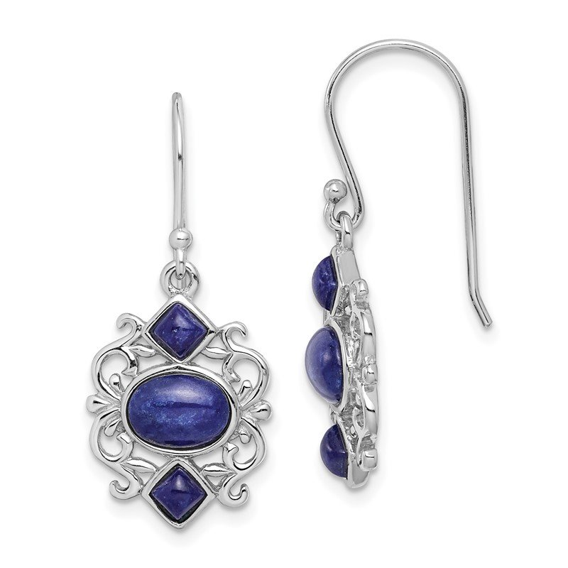 Quality Gold Sterling Silver Rhodium-plated w/Lapis Lazuli Shepherd Hook Earrings
