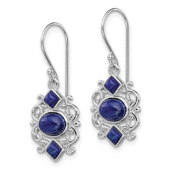 Sterling Silver Rhodium-plated Lapis Dangle Earrings
