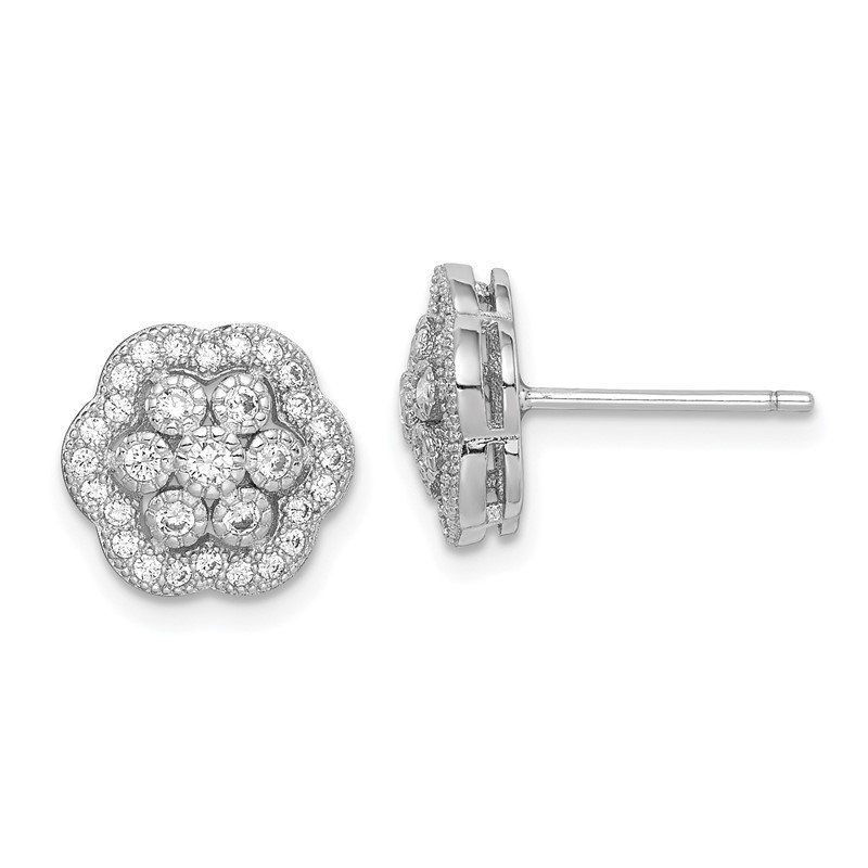 Quality Gold Sterling Silver Rhodium-plated Polished CZ Flower Earrings