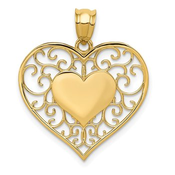 14K Polished Filigree Heart Pendant