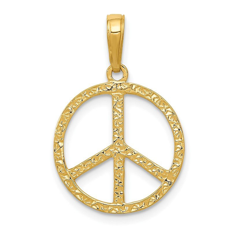 Quality Gold 14k Textured Peace Sign Pendant