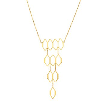 14K Gold Honeycomb Cascading Necklace