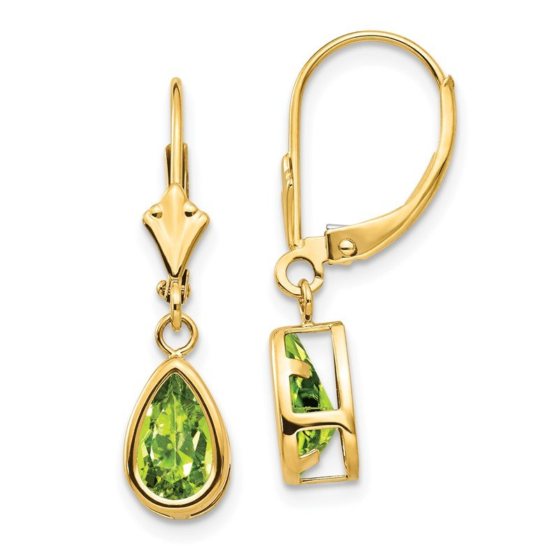 Quality Gold 14k 8x5mm Pear Peridot Leverback Earrings