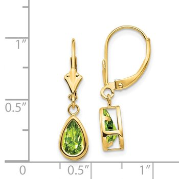 14k 8x5mm Pear Peridot Leverback Earrings