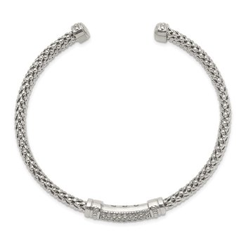 Sterling Silver White Sapphire Textured Cuff Bracelet