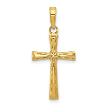 14K Diamond-cut X Cross Pendant