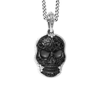 Large Carved Jet Baroque Skull In A Bezel Setting Pendant On 24