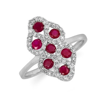 14K WG Diamond & Ruby Ring