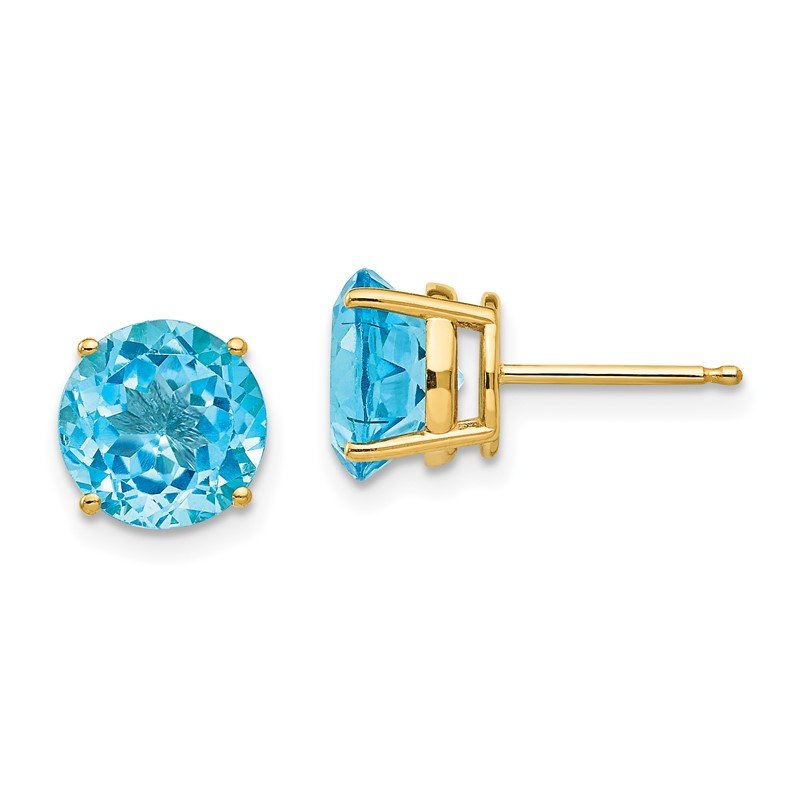 Quality Gold 14k 8mm Blue Topaz Post Earrings