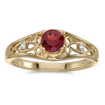 14k Yellow Gold Round Garnet And Diamond Ring