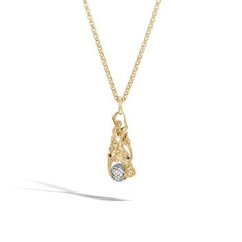 Legends Naga Pendant Necklace in 18K Gold with Diamonds