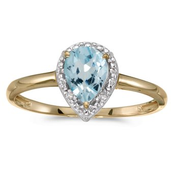 14k Yellow Gold Pear Aquamarine And Diamond Ring