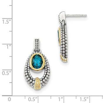 Sterling Silver w/Gold Flash-plating London Blue Topaz Dangle Earrings